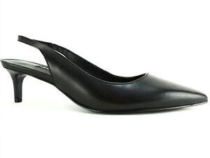 Nine West Women's Feliks Slingback Pumps Black Leather Size 7.5 M