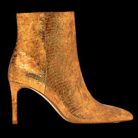 ZARA Metallic Leather Gold Slim High Heel Ankle Boots 6112/001 RRP GBP 79.99