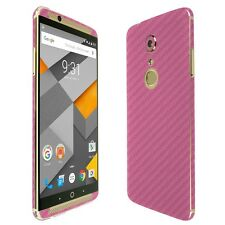 Skinomi Pink Carbon Fiber Skin+Clear Screen Protector for ZTE Axon 7