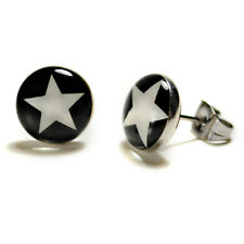 STAINLESS STEEL POST EARRINGS STAR White Black Hipster Pair Icon Stud NEW