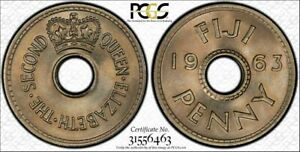 British Fiji, 1963 Elizabeth II Penny. PCGS MS 65. 432,000 Mintage.