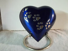 """4"""" Vibrant Blue w/Pewter Walking Paws Brass Heart Urn~Large holds up to 12 lbs."""