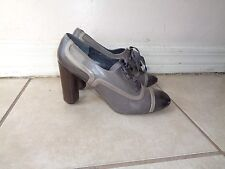 MARC JACOBS MULTI TONE GRAY PATENT LEATHER BOOTIES Sz 36.5M MADE IN ITALY