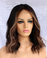 "Custom Full Lace Brazilian Dark Brown/Blonde Hlghts Wavy Human Hair Wig 14"""
