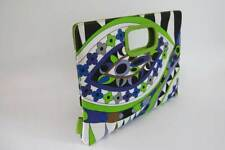 XOXO Nylon Flower Print Envelope Handbag With Lime Green Faux Leather Trim