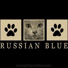 Russian Blue Cat Portrait T-Shirt Tee - Men Women's Youth Tank Short Long Sleeve