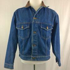 VTG Marlboro Country Store Denim Jacket Medium Flannel Lining Leather Collar 80s