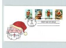 CHRISTMAS; Hand Painted SANTA Claus, # 1 of 1 made, 4 diff. Christmas stamps FDC