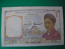 BILLET DE 1 PIASTRE BANQUE DE L'INDOCHINE  type 1932 ETAT QUASI NEUF