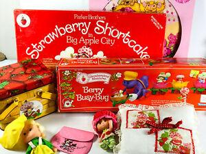 BIG LOT (x9) Strawberry Shortcake Toys Record Doll Tin Board Game