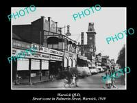OLD POSTCARD SIZE PHOTO OF WARWICK QLD VIEW OF PALMERIN STREET SHOPS c1949