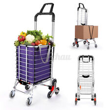 Foldable Large Shopping Rolling Stair Climber Hand Truck Dolly Cart Trolley #