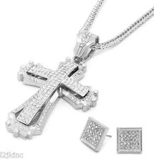 Mens Large Hollow Cross Silver Iced Out Pendant 36 Inch Necklace Franco Chain S9