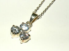 "Crystal Pendant w/ 18"" Petite Chain Estate Sterling Silver Three Stone Clear Cz"