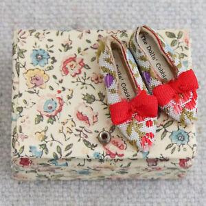 Vintage Artisan Dollhouse Miniature Womens Floral Brocade Heeled Shoes 1:12