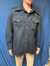 Vintage 70s Jc Penneys Towncraft Navy Blue Polyester Leisure Jacket Shirt M