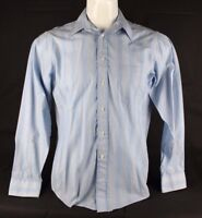 Christian Dior men's shirt white blue striped cotton button down size 15 1/2