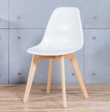 2x STOCKHOLM Wooden Plastic Dining Chairs Charles Eames Style Crossed Leg White