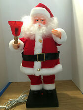 TELCO Animated Motionette Santa Has Lighted Red Bell w Cover & Body Sways