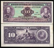 VENEZUELA 10 BOLIVARES P61 1990 HORSE BOLIVAR BATTLE UNC LATINO MONEY BANK NOTE