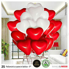 25x Palloncini CUORE Lattice Festa Anniversario Matrimonio BIANCO ROSSO 18 cm