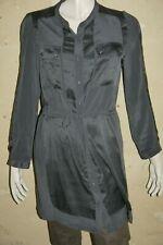 GERARD DAREL Taille 40 Superbe chemise longue SOIE tunique grise manches longues