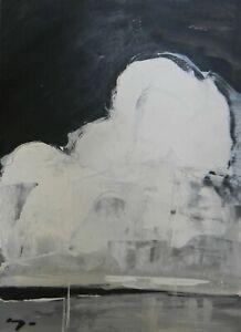 JOSE TRUJILLO Acrylic Painting 11x15 Black & White Monochrome Clouds Art (30/30)