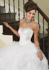 NEW Vizcaya by Mori Lee Quinceanera Sweet 16 Ball Gown Prom Dress 88029 White 4
