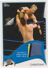 2014 TOPPS WWE CHRISTIAN AUTHENTIC 3-COLOR SHIRT RELIC