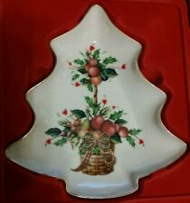 New ListingLenox China Holiday Tartan Tree Candy Dish Gold Trim New Old Stock