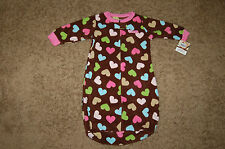 NWT Infant Girl's Carter's Snuggle-me Sleep Bag Sweetheart 0-9M Brown Hearts FS!