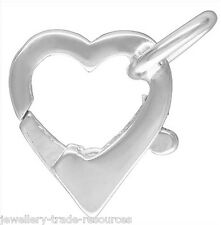 12mm STERLING SILVER HEART SHAPE PEARL / BEAD NECKLACE JEWELLERY CLASP CATCH