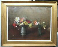 H. Thomas Clark Classical Still Life with Flowers Listed Vermont Artist
