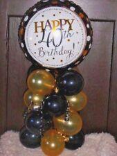 FOIL BALLOON  TABLE DECORATION DISPLAY HAPPY 40TH BIRTHDAY BLACK & GOLD