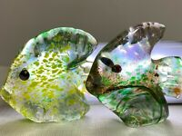 2 RARE St Clair Art Glass Fish Sculptures Signed/Studio  St Clair Paperweight 2