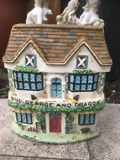 More details for vintage heavy cast iron the george & dragon pub painted door stop