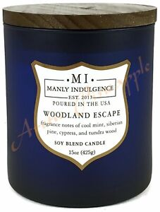 Manly Indulgence Soy Wax Blend Wood Wick 15oz 60hr Candle - Woodland Escape