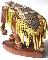 Hand Carved Elephant Figure Parade Gold Cloth Fringes Figurine Kenya Vintage