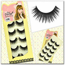 5 Pairs Super Long False Eyelashes Handmade Thick Fake Eye Lashes  Black #47