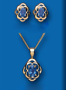 Sapphire Pendant and Earrings Set Solid Hallmarked Yellow Gold Kanchan Sapphire