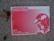1987 Honda TRX125 Four Trax 125  ATV Owner Manual Off Road Vehicle Operation  SS