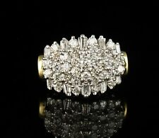 ZALES NATURAL 2.0ctw DIAMOND SOLID 14K YELLOW GOLD WIDE BAND CLUSTER DINNER RING