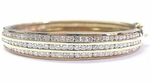 NATURAL Round Cut Diamond 3-Row SOLID Yellow Gold Bangle 14KT 96-Stones 4.00Ct
