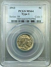 1913 Type 1 5c Buffalo Nickel Coin PCGS MS64 ~ First Year