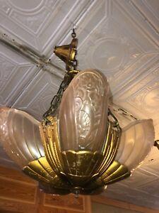 Art Deco Lincoln Slip Shade Chandelier Light Amazing Condition