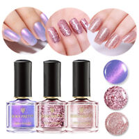 3 Bottles BOTN PRETTY 6ml Rose Gold Nail Polish Purple Glitter Manicure Varnish