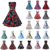 Women 50s Vintage Floral Sleeveless Hepburn Rockabilly Evening Party Swing Dress