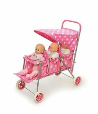Triple Doll Stroller - Pink Polka Dots baby Girl Dolls holiday, Play Accessories