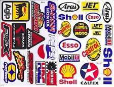 2 sheet shell agip esso mobil 1 hrc ngk irc oil lube decal sticker print die-cut