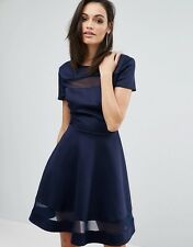 Club L Office Skater Dress With Mesh Panel Insert small/uk8